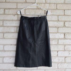 Vintage Black Leather 80s A-Line Midi Skirt